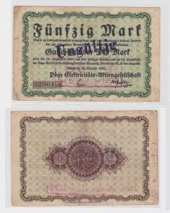 50 Mark Banknote Notgeld Chemnitz Pöge Elektrizitäts AG 26.10.1922 (120135)