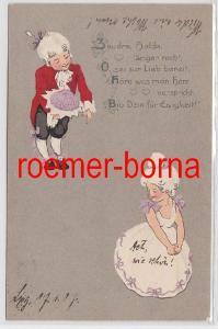 81738 Humor Reim Ak niedliches Rokoko Pärchen 1907
