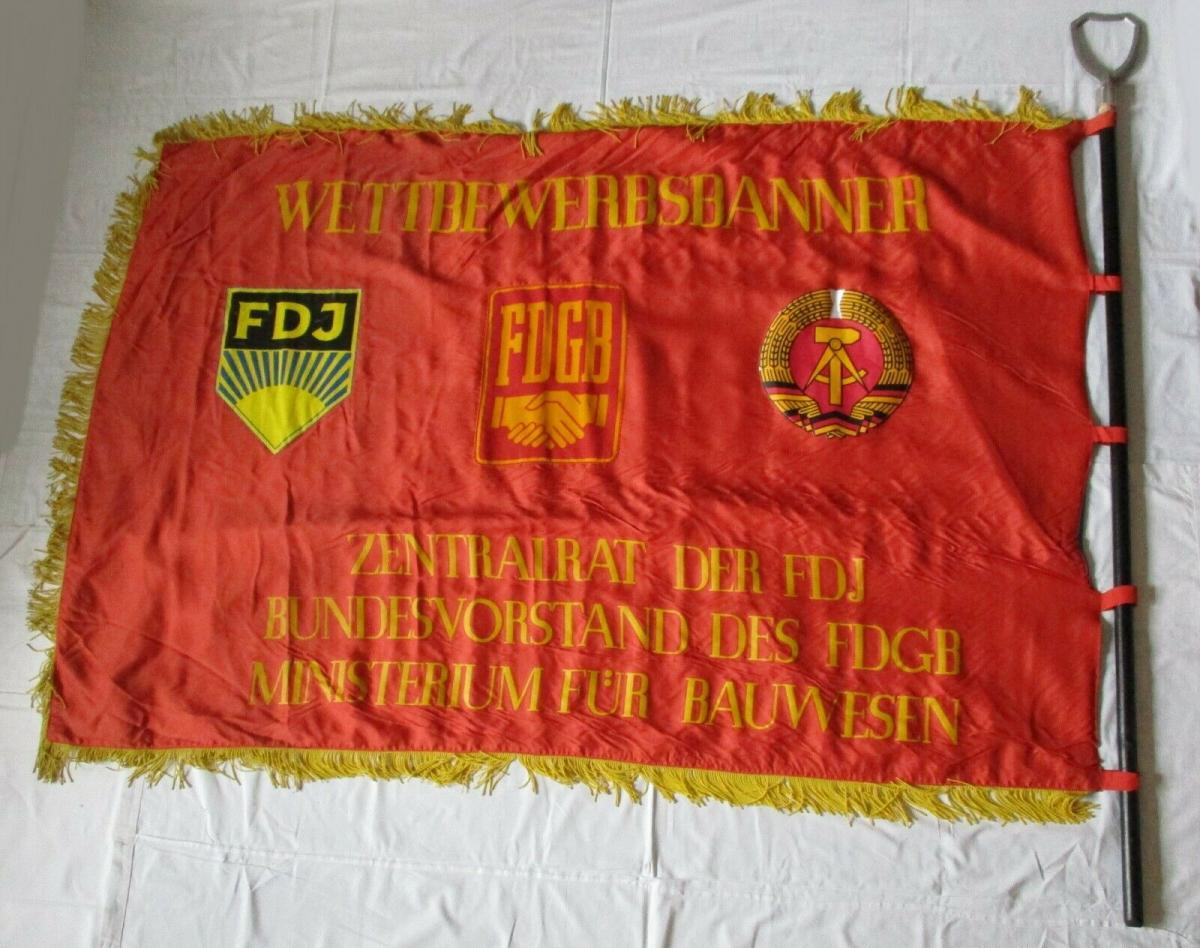 DDR Fahne bestes Jugendkollektiv Ministerium f. Bauwesen FdJ FDGB (135283) 0