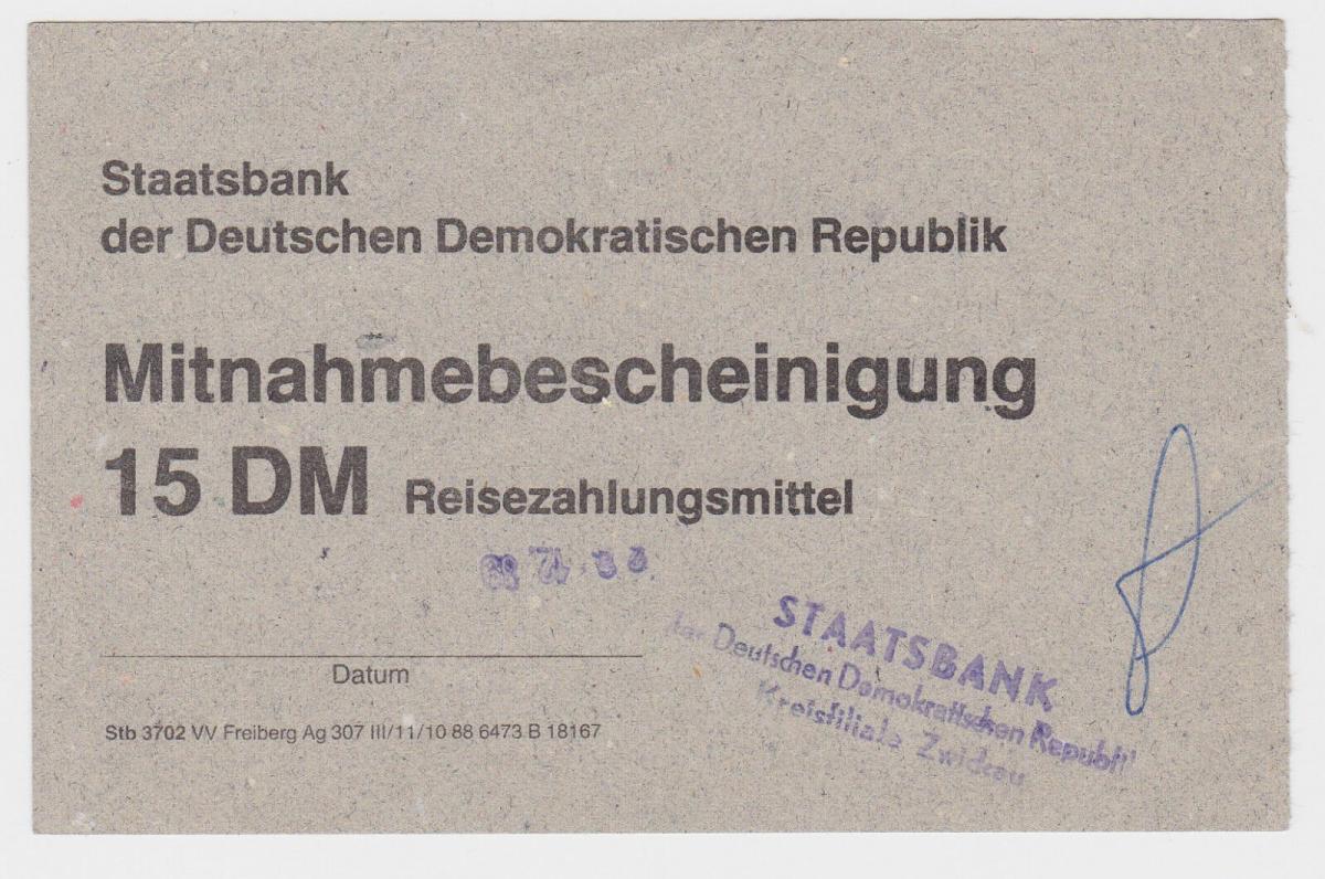 15 DM Reisezahlungsmittel Mitnahmebescheinigung DDR 1989 (118950) 0