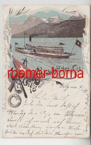 82151 Ak Lithographie Gruss vom Vierwaldstätter See 1897