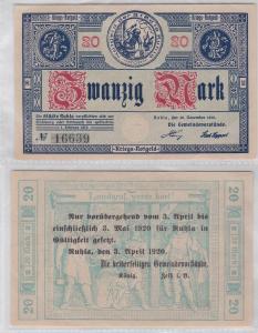 20 Mark Banknote Kriegsnotgeld Städte Ruhla 20.11.1918 mit Aufdruck (120015)