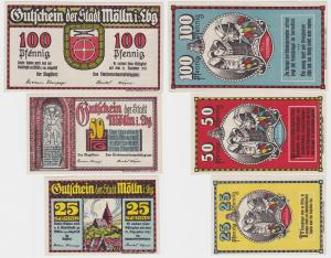 3 Banknoten Notgeld Stadt Mölln in Lbg. ohne Datum (1921)  (114360)