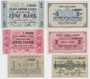 1, 2 & 5 Mark Banknoten Notgeld Stadt Alfeld (Leine) 1918 (115184)