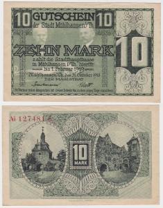 10 Mark Banknote Stadt Mühlhausen in Thüringen 31.10.1918 (121408)