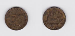 50 Pfennig Messing Münze DDR 1950 Pflug vor Industrielandschaft (119772)