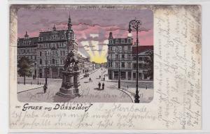 89782 Lithografie AK Gruss aus Düsseldorf - Elberfelder Strasse mit Denkmal 1905