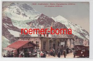 81021 Ak Jungfraubahn Station Eigergletscher nit Jungfrau 1909