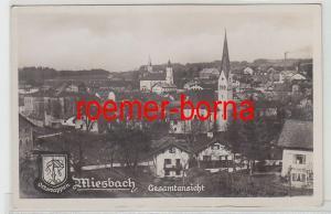 25037 Ak Miesbach Gesamtansicht mit Ortswappen um 1930