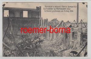 67431 Ak Burtzweiler b. Mülhausen Els. Spinnerei Weberei Kumpe zerstört 1914