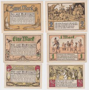 3 Banknoten Notgeld Hamburg Zoologischer Garten 1921 (117571)