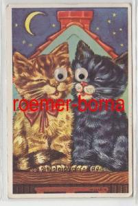 71441 mechanische Ak 2 Katzen mit Wackelaugen 1954