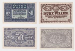 20 und 50 Filler Banknoten Ungarn 1920 fast kassenfrisch (120191)