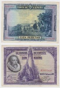 100 Pesetas Banknote Spanien Madrid 15.August 1928 (118796)