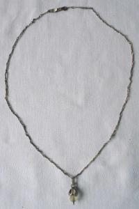 Schöne Kette und Anhänger mit kleiner Perle 835er Silber (118381)