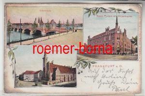 82884 Ak Litho Frankfurt a.O. Oderbrücke Neue Post Wilhelmsplatz Rathaus um 1900