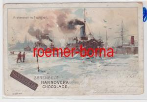 85403 Reklame Ak Sprengel´s Hannovera-Chocolade Serie 1 Nr. 4 Eisbrecher 1900