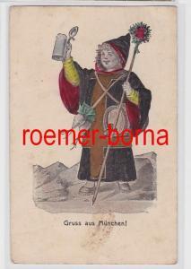 80919 geprägte Ak Gruss aus München! Münchner Kindl 1906
