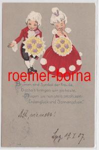 81737 Humor Reim Ak niedliches Rokoko Pärchen 1907