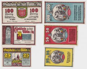 3 Banknoten Notgeld Stadt Mölln in Lbg. ohne Datum (1921)  (120085)