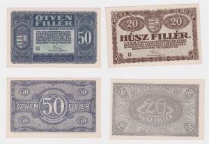 20 und 50 Filler Banknoten Ungarn 1920 fast kassenfrisch (119665)