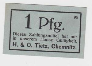 1 Pfennig Banknote Gutschein Kaufhaus H. & C. Tietz Chemnitz  (118878)