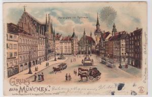 81907 AK Gruss aus München - Marienplatz mit Rathaus, Denkmal & Verkehr 1900