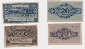 10 und 20 Mark Banknoten Stadt Cottbus 20.11.1918 (119359)