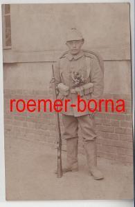 82292 Foto Ak Soldat Infanterie Regiment 107 Leipzig in voller Ausrüstung