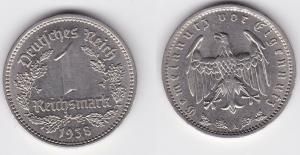 1 Mark Nickel Münze 3.Reich 1938 A, Jäger 354 (125513)