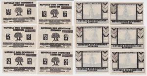 6 Banknoten Notgeld Gemeinde Esingen ohne Datum (1921)  (119728)