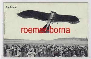 80787 Foto Ak Die Taube: Rumpler-Taube überfliegt Menschenmenge 1912