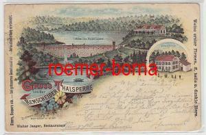 74585 Ak Lithographie Gruß von der Remscheider Thalsperre 1897