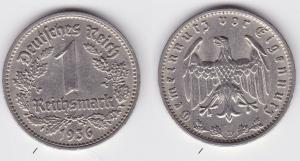 1 Mark Nickel Münze III.Reich 1936 D Jäger Nr. 354 (125824)