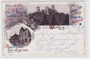 87191 AK Gruß von der Wartburg - Totalansicht mit Wald & Restauration 1898