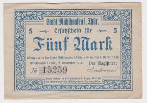 5 Mark Banknote Notgeld Stadt Mühlhausen in Thüringen 2.11.1923 (117420)