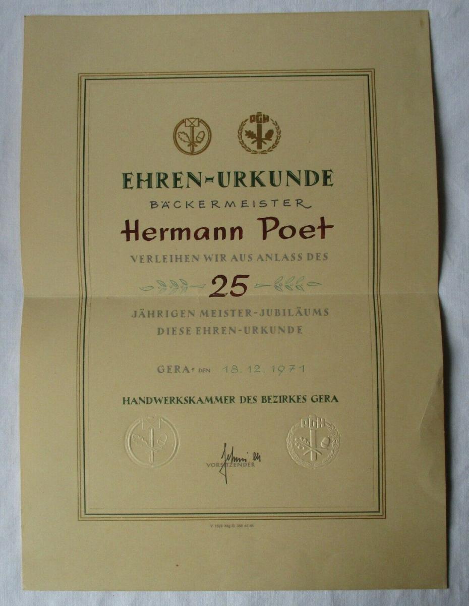 DDR Ehren-Urkunde Bäckermeister Handwerkskammer Gera Meister-Jubiläum (135167) 0