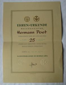 DDR Ehren-Urkunde Bäckermeister Handwerkskammer Gera Meister-Jubiläum (135167)
