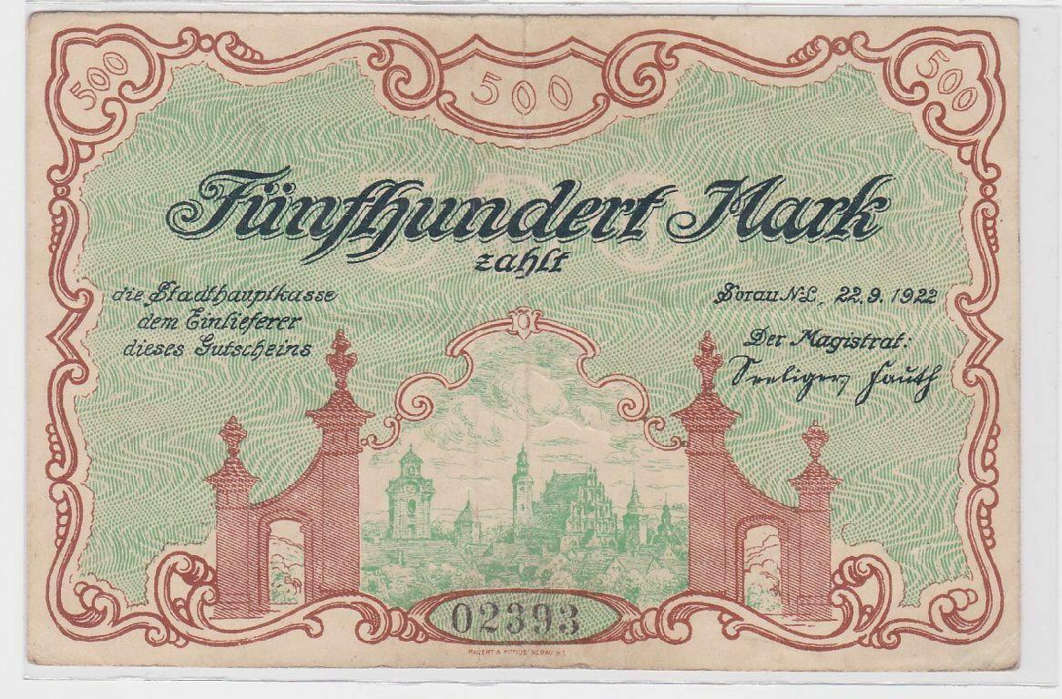 500 Mark Banknote Stadthauptkasse Sorau N.L. 22.9.1922 (118953) 0