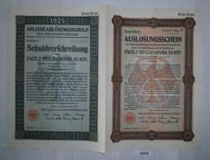 12,50 Mark Aktie Reichsschuldenverwaltung Berlin 25.September 1925 (132078)