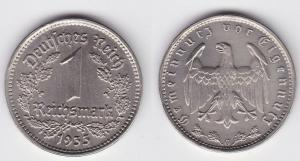 1 Mark Nickel Münze III.Reich 1933 G Jäger Nr. 354 (125826)