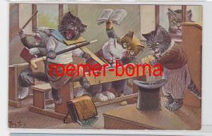 82245 Künstler Ak Arthur Thiele vermenschlichte Katzen in der Schulpause um 1930