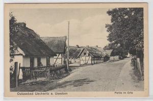90943 Ak Ostseebad Ueckeritz auf Usedom Partie im Orte 1928