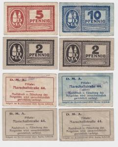 2,2,5 & 10 Pfennig Banknoten Notgeld Dresden D.M.A. Marschallstraße 44 (115330)