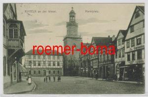 81751 Ak Rinteln an der Weser Marktplatz mit Eisenhandlung Wilcke 1914
