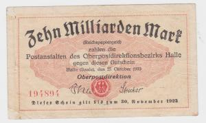 10 Milliarden Mark Banknote Oberpostdirektion Halle Saale 27.10.1923 (118080)