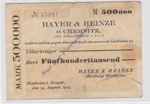 500000 Mark Banknote Firma Bayer & Heinze Thalheim 14.08.1923 (119428)