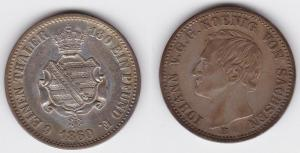 1/6 Taler Silber Münze Johann König von Sachsen 1860 B (123663)