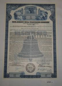 1000 Dollar Aktie New Jersey Bell Telephone Company 29. Oktober 1982 (127231)