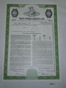1000 Dollar Aktie Trans World Airlines Inc. Delaware 1. Juni 1978 (126853)